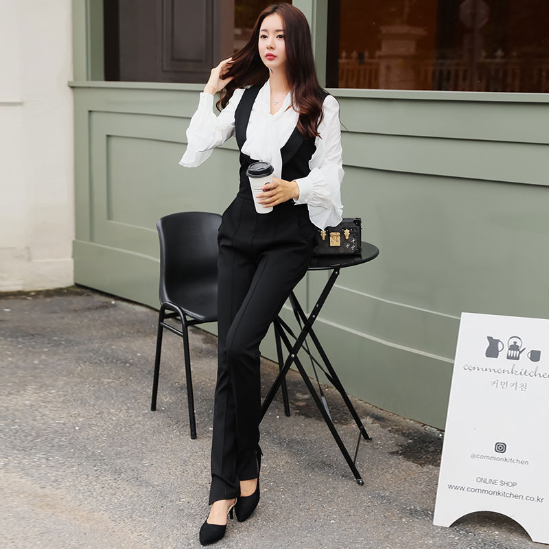 3bd1d6b397ad 2018 Spring Official Bowknot White Casual Chiffon Blouse Long Suits Overalls  Black Slim High Street Jumpsuit-in Women s Sets from Women s Clothing on ...