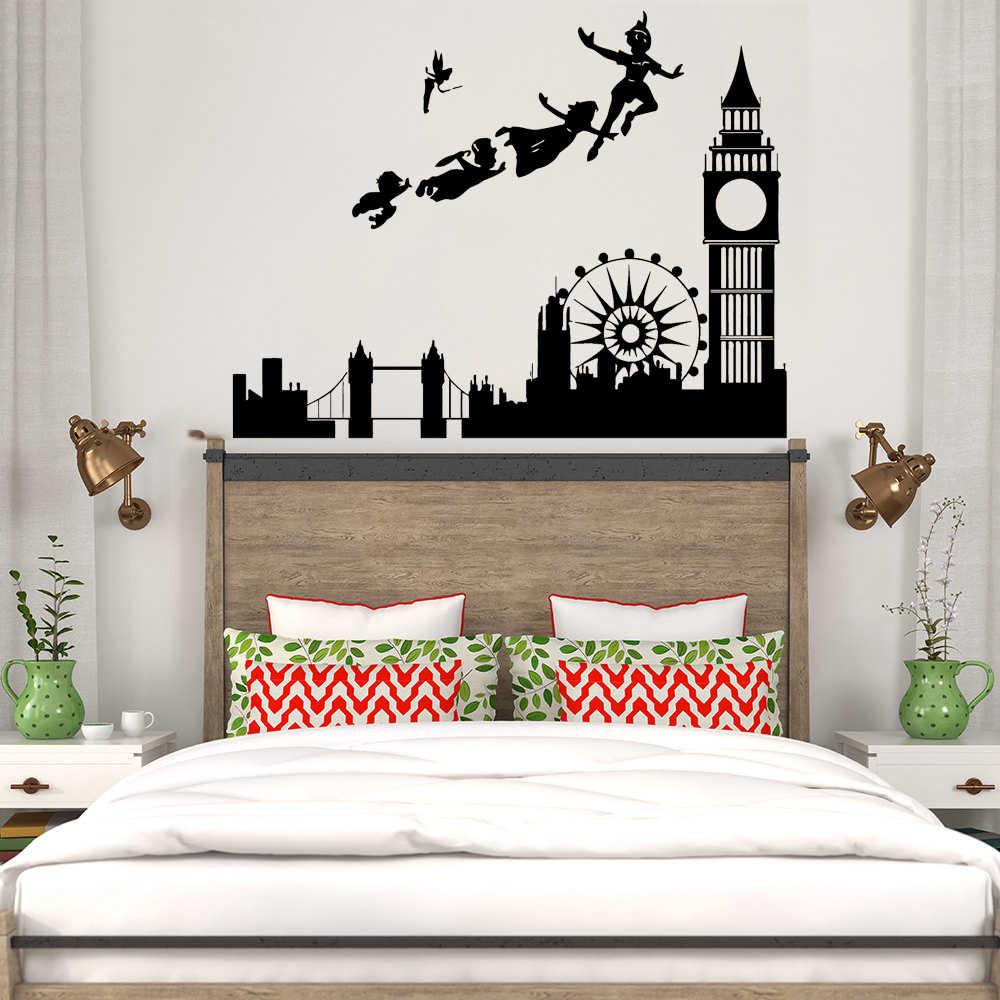 aad49b877811 Wall Stickers For Kids Rooms Decal Peter Pan London Cartoon Pirate Mural  Children Boys Nursery Bedroom