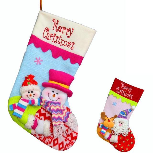 large christmas stocking cartoon santa claus elk snowman sock gift bag kids xmas decoration candy bag - Christmas Stockings For Kids
