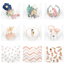 купить Bedding Outlet Unicorn Tapestry Pink and White Decorative Wall Hanging   Beach Picnic Flamingo Sheets Floral  tapiz Home Decor дешево