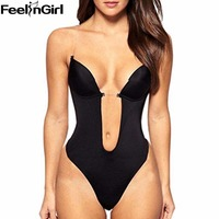 Women S Bodysuit Vestido Backless Shapewear Deep Plunge Thong Slimming Body Shaper Tops Invisible Bra Under