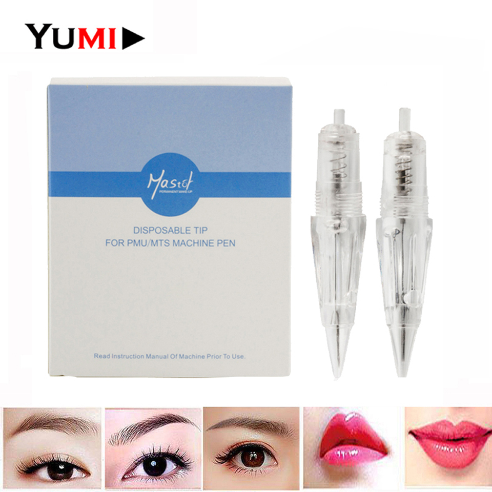 15pcs pack Disposable Sterilized Permanent Lip Eyebrow Makeup Screw Tattoo Needles Cartridge Tip For PMU MTS