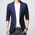 2016 New Autumn and spring Fashion lattice Blazer Men Casual Suit Mens Brand Slim Fit One Button Men Suit Jacket 6XL free delive