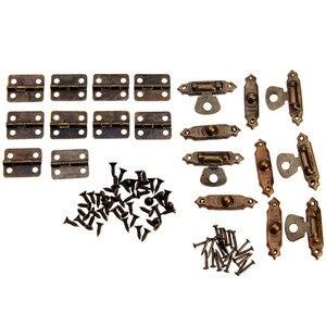 Image 5 - 10 шт. античная бронза мебель петли для шкафа + 5 шт. деревянная коробка для ювелирных изделий CaseToggle защелка железная винтажная фурнитура Аксессуары