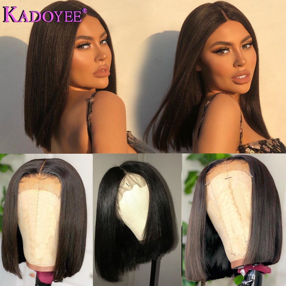 short bob human hair lace front wigs