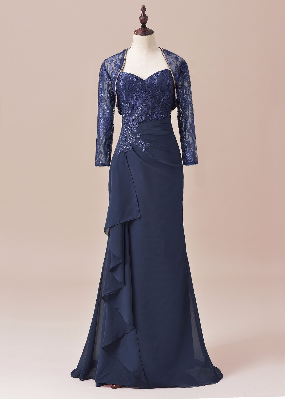 Three Quarters Half Sleeves Lace Formal Gown Mother Of The Bride Groom Dress With Jacket For Wedding Vestido De Festa SLD-M08