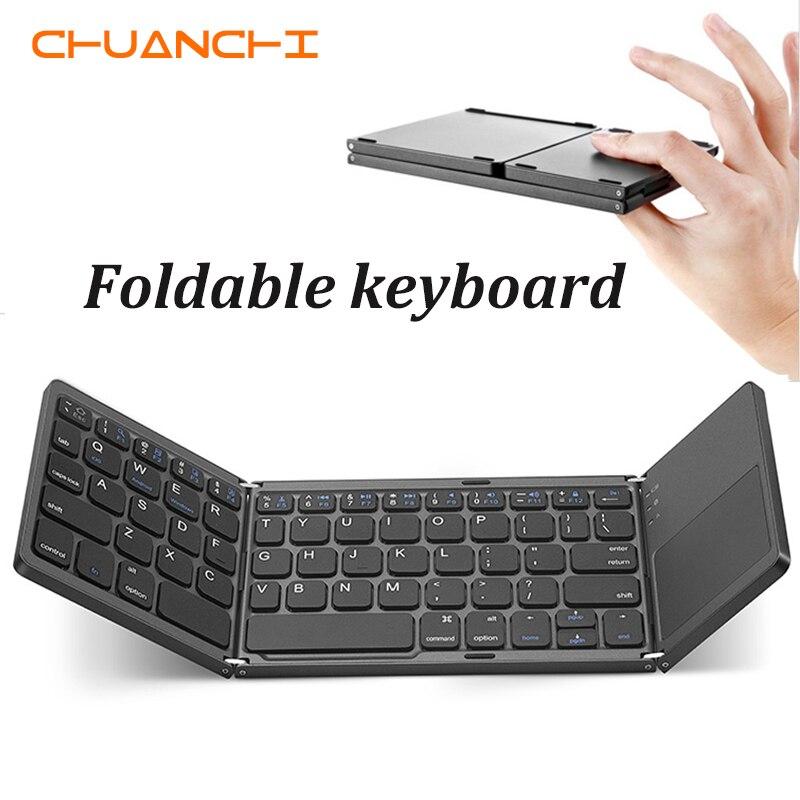 CHUANCHI B033 портативная дважды Складная Bluetooth клавиатура BT беспроводная Складная тачпад Клавиатура для Windows/IOS/Android ipad планшет