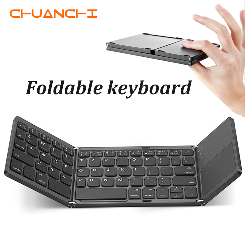 CHUANCHI B033 Portable Twice Folding Bluetooth Keyboard BT Wireless Foldable Touchpad Keypad For Windows/IOS/Android Ipad Tablet