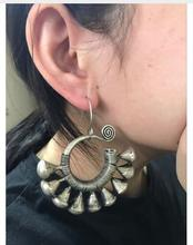 Fashion charming new Style Charming Tibet Tribal Jewelry Miao Silver Big Hollow Earrings pair silver jewelry rings