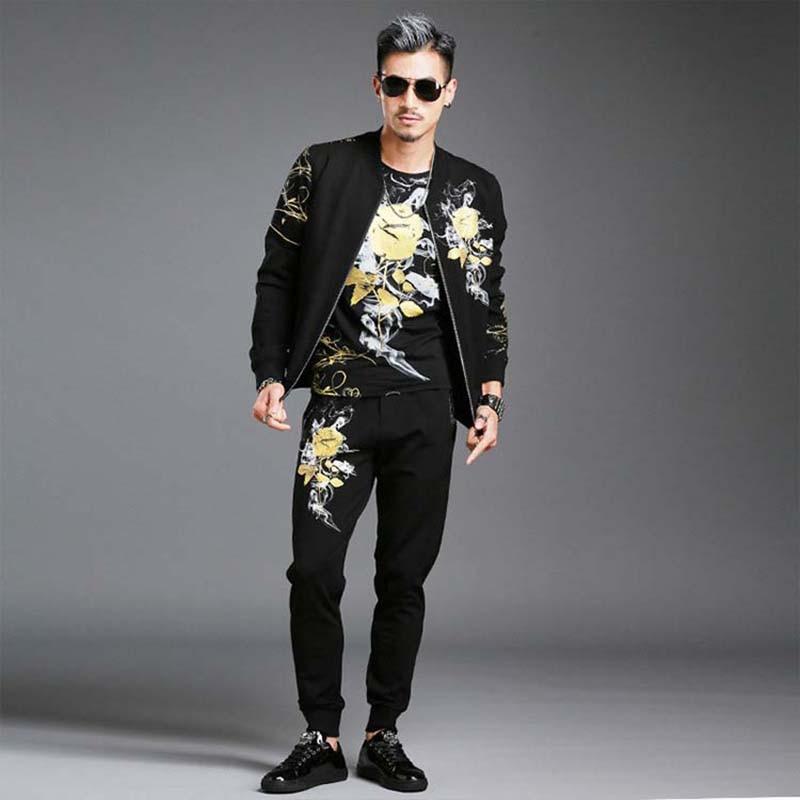 Autumn Men's Fashion Hoodies Set With Joggers Pants 2 Piece Set Floral Gilding Tracksuit Men Pants Sweatshirt Jacket Clothing