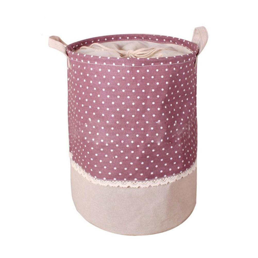 2018 New Arrival The Beam Port Linen Multi-function Handle Stackable Storage Barrel Laundry Basket Toy Storage Box Hot Selling