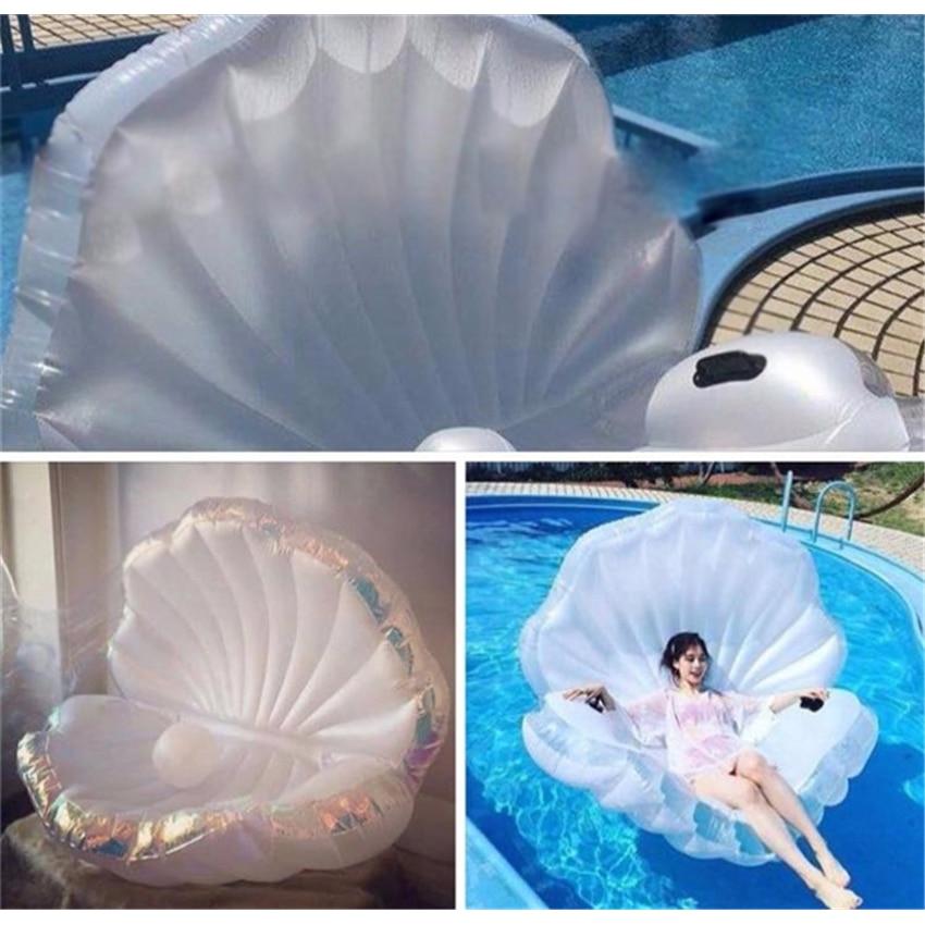 1 ST PVC opblaasbare drijvende rij stoel shell parel Scallop in Shell Kind Opblaasbare Rit-On Zwembad Speelgoed