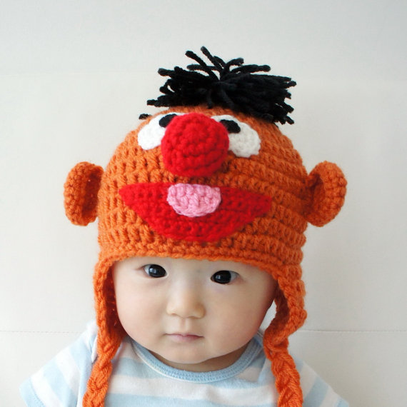 Free Shipping Handmade Baby Hat Toddler Crochet Hatsernie Muppet