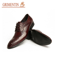GRIMENTIN business dress genuine leather lace up brown formal male shoes