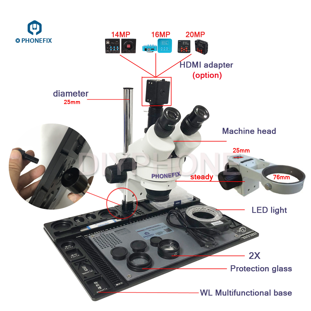 PHONEFIX 3 5 90X Continuous Zoom Trinocular Stereo Microscope 14 16 21MP HDMI Camera 144 LED