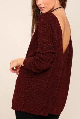 Back Deep V-neck  Sweater