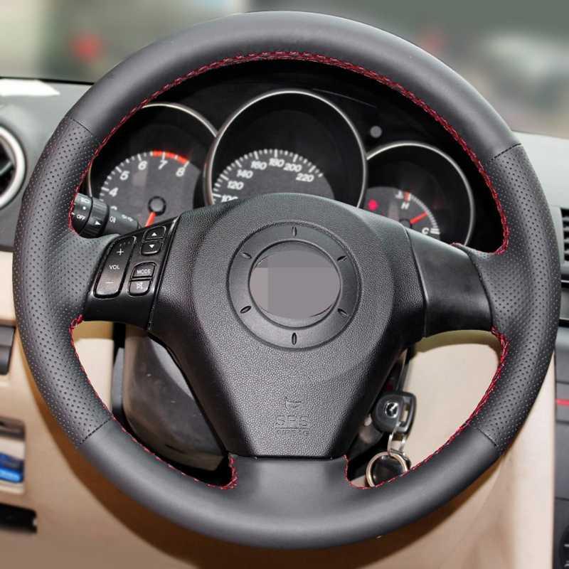GNUPME DIY Funda de cuero Artificial para volante de coche negro para Mazda 3 Mazda 5 Mazda 6 Pentium b70
