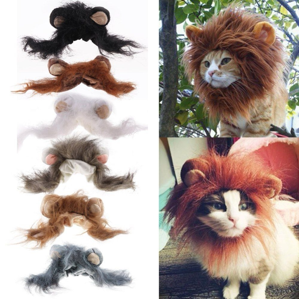 Fashion Cat Lovely Pet Costume Lions Mane Wig For Cat Halloween Christmas Party Dress Up With Ear Pet Apparel Cat Fancy Dress