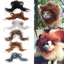 Mode Kat Mooie Pet Kostuum Lions Mane Pruik voor Kat Halloween Kerst Party Dress Up Met Oor Pet Kleding Kat fancy Dress(China)