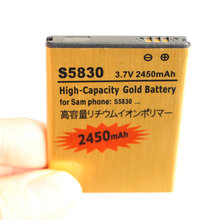 2450mAh EB494358VU 3.7VDC Gold Replacement Li-ion Battery For Samsung Galaxy Ace S5830 S5660 S5670 S7510 i619 S5830i i569 S5838