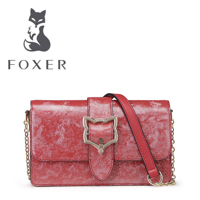 FOXER Women Leather Handbag Ladies Small Shoulder Bags Lovely Clutch Crossbody for Woman Luxury Flap Bag Candy Summer Colors lacattura small bag women messenger bags split leather handbag lady tassels chain shoulder bag crossbody for girls summer colors