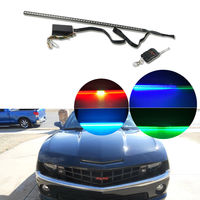 24 7 Color RGB LED Knight Rider Remote Strip Light For Under Hood Behind Grille for 2015&up Ford Mustang