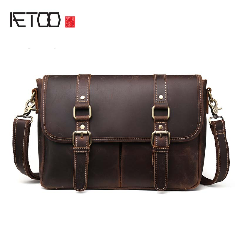 AETOO New Europe and the United States style crazy horse leather briefcase men genuine leather business messenger bag vintage aetoo europe and the united states fashion new men s leather briefcase casual business mad horse leather handbags shoulder