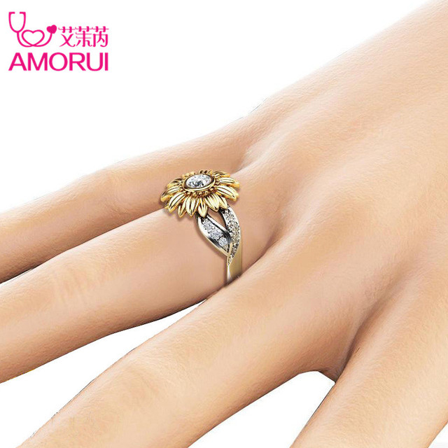 Silver Color Cute Gold Sunflower Crystal Wedding Ring 5