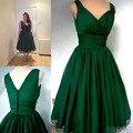 Verde esmeralda 1950 s cocktail dress 2017 de la vendimia de longitud de té más tamaño gasa overlay elegante acanalada cocktail party dress