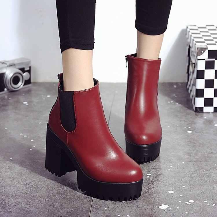 2018 Thời Trang Phụ Nữ Khởi Động Gót Vuông Nền Tảng Zapatos Mujer PU Da Đùi Cao Bơm Khởi Động Xe Gắn Máy Giày Hot Bán