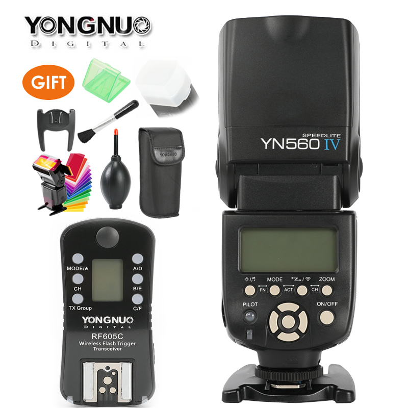 YONGNUO YN560 IV Master Radio Flash Speedlite + RF-605 Wireless Trigger for Canon 1000D 650D 600D Nikon D7200 D750 D800 Camera yongnuo yn 560 iv master radio flash speedlite rf 603 ii wireless trigger for nikon d800 d7100 d610 canon 5div 650d camera