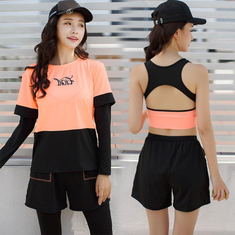 2018 las nuevas mujeres Yoga conjunto sólido deporte trajes de manga larga Fitness transpirable camiseta de Yoga deportes sujetador corto corriendo pantalones 4 piezas