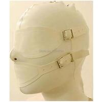 Mysterious Sexo Sex Products Sexy Lingerie White Women Handmade Customize Latex Hoods Mask Back Zipper Zentai