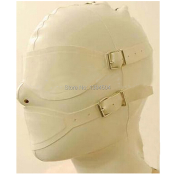 Mysterious exotic beige white women Handmade customize Latex Hoods Mask Back Zipper Zentai Goggles Masks Hood eye&mouth cover
