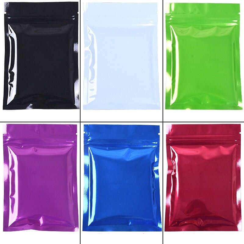 High quality 6 colors 3000pcs lot Metallic Mylar Ziplock Bags Flat Black Aluminum foil Packing Bags