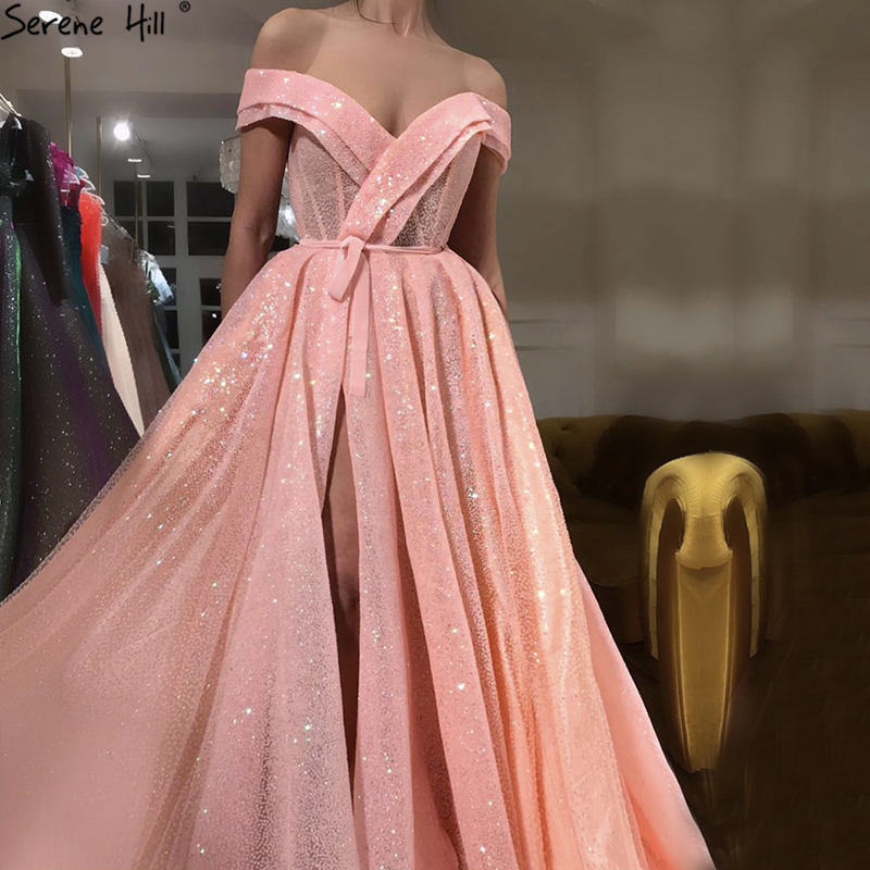 Peach Pink Luxury Sparkle Tulle Evening Dresses Sequined Off Shoulder Sexy Fashion Evening Gowns 2019 Serene Hill LA6505