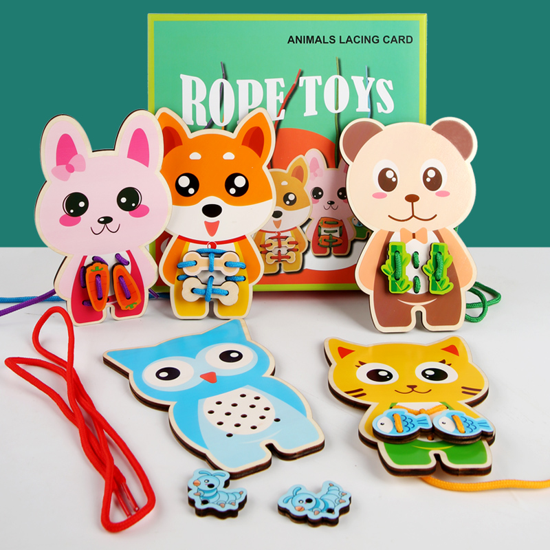 Baby Toy Wooden DIY Puzzle Lacing Card Cartoon Animal Wooden Rope Game Handwork For Children Educational Monterssori Toy For Kid