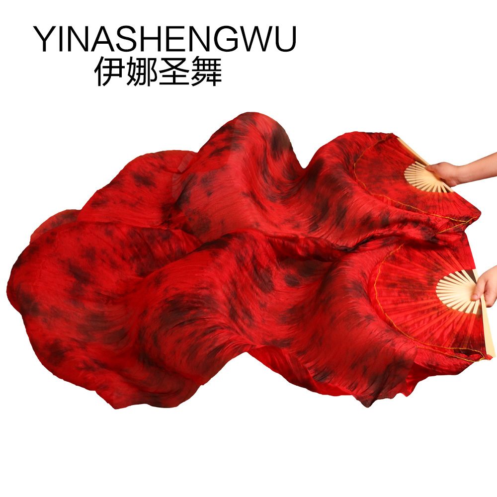 Stage Performance Dance Fans 100% Silk Veils Colored Women Belly Dance Fan Veils (2pcs) Black+red Color Mixing