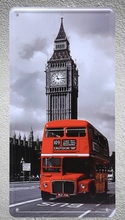 1 pc London big ben Double uk decker red bus plaques shop store Tin Plates Signs wall Decoration Metal Art Vintage Poster