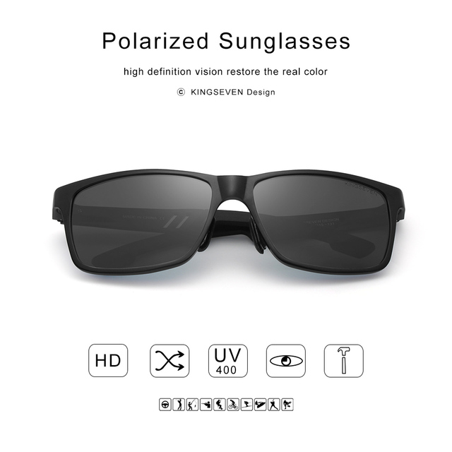 KINGSEVEN 2018 Original HD Polarized Sunglasses Brand Aluminum Magnesium Mirror Men Sport Driving Glasses Goggles Oculos De Sol 3