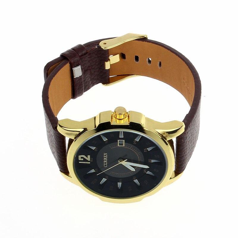 Men s Luxury Analog Sport Steel Case Quartz Date Leather Wrist Watch Brand New High Quality