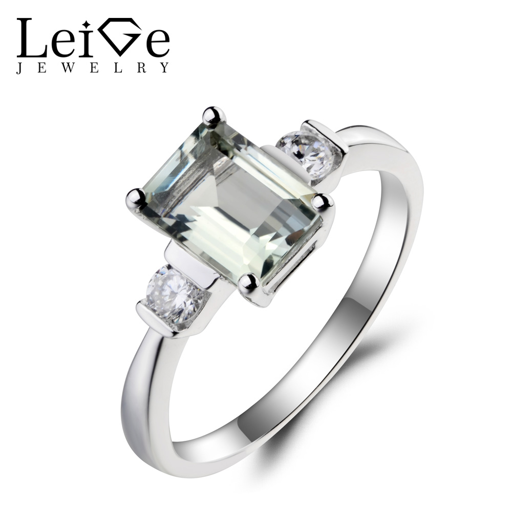 Leige Jewelry Natural Green Amethyst Ring Anniversary Ring Emerald Cut Green Gemstone Solid 925 Sterling Silver Gifts for Women leige jewelry solitaire ring natural green amethyst ring anniversary ring emerald cut green gemstone 925 sterling silver gifts