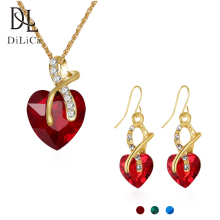 hot deal buy dilica fashion jewelry sets women rhinestone crystal necklaces&pendants earrings set wedding party jewelry parure bijoux femme