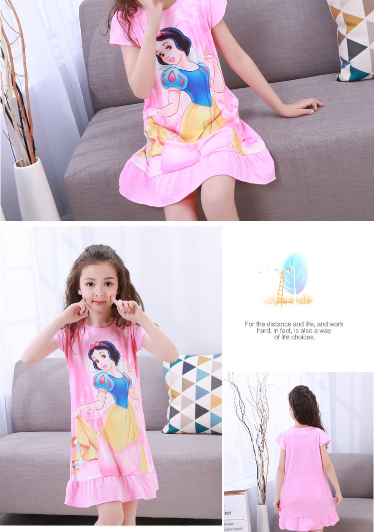 New Listing 19 Children pajamas Summer Dresses Girls Baby Pajamas Cotton Princess girl Nightgown Home Cltohing Girl Sleepwear 6