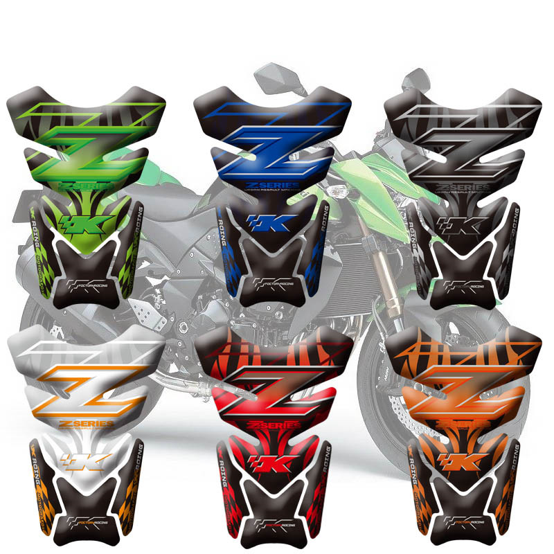 Motorcycle 3D Fuel Tank Pad Protective Stickers Decals For Kawasaki Z750 Z1000 Fish Bone Sticker