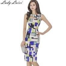 2018 New Summer Geometric Print Vestidos Sexy Cut Out Dress Sleeveless  Pencil Dresses Office Wear Women Work Clothes cfd663a39857