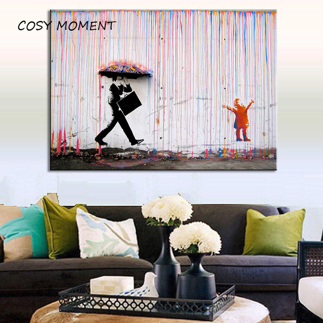 Cosy Moment Banksy Art Prints Colorful Rain Canvas Painting Poster Wall Decor For Living Room Zs024