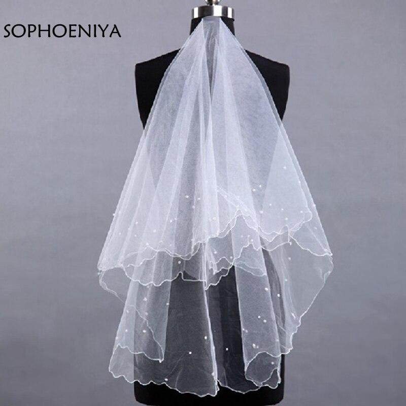 adcd80ac4a Moda de marfil barato corto velo de novia 2019 Veu de novia barato accesorios  de la boda de gasa matrimonio Abendkleider sluier en stock