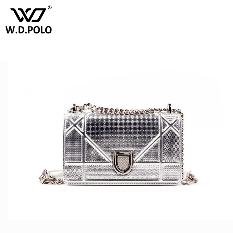 WDPOLO New mirror leather pu women purse glitter look lady bag chain silver coating girls fashion