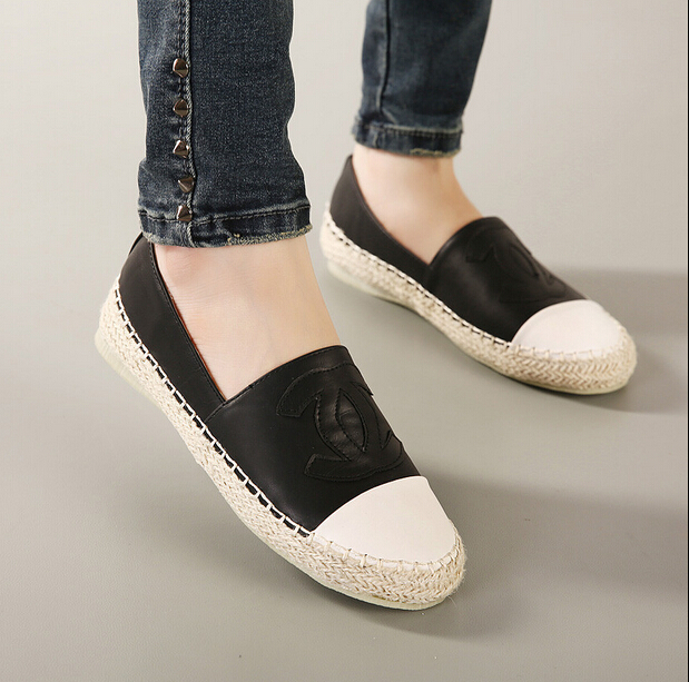 976b7e7d860 2015 women s Flats leather espadrilles casual color block shoes updated  thick double sole plus